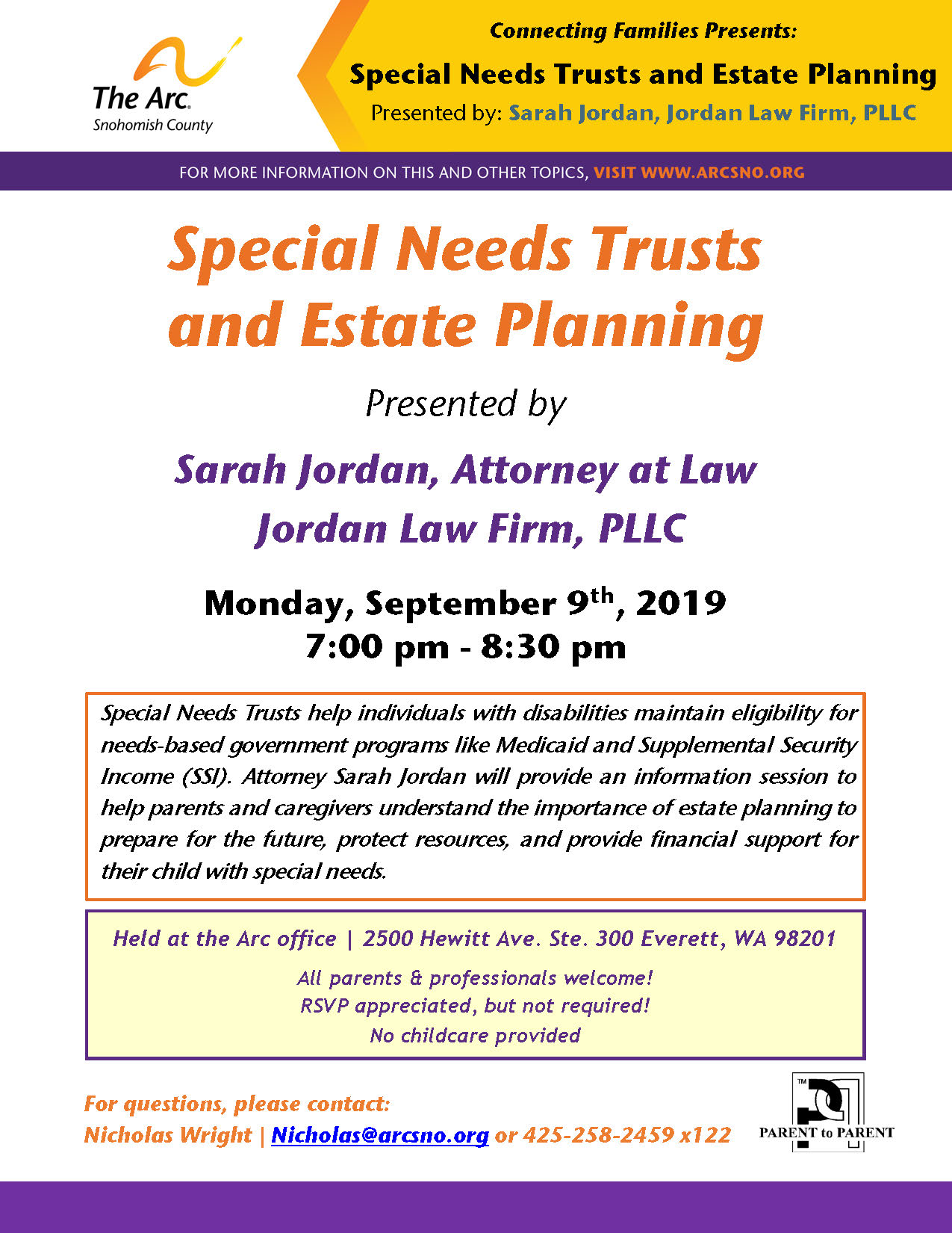 CF Sept2019 SNT and Estate Planning