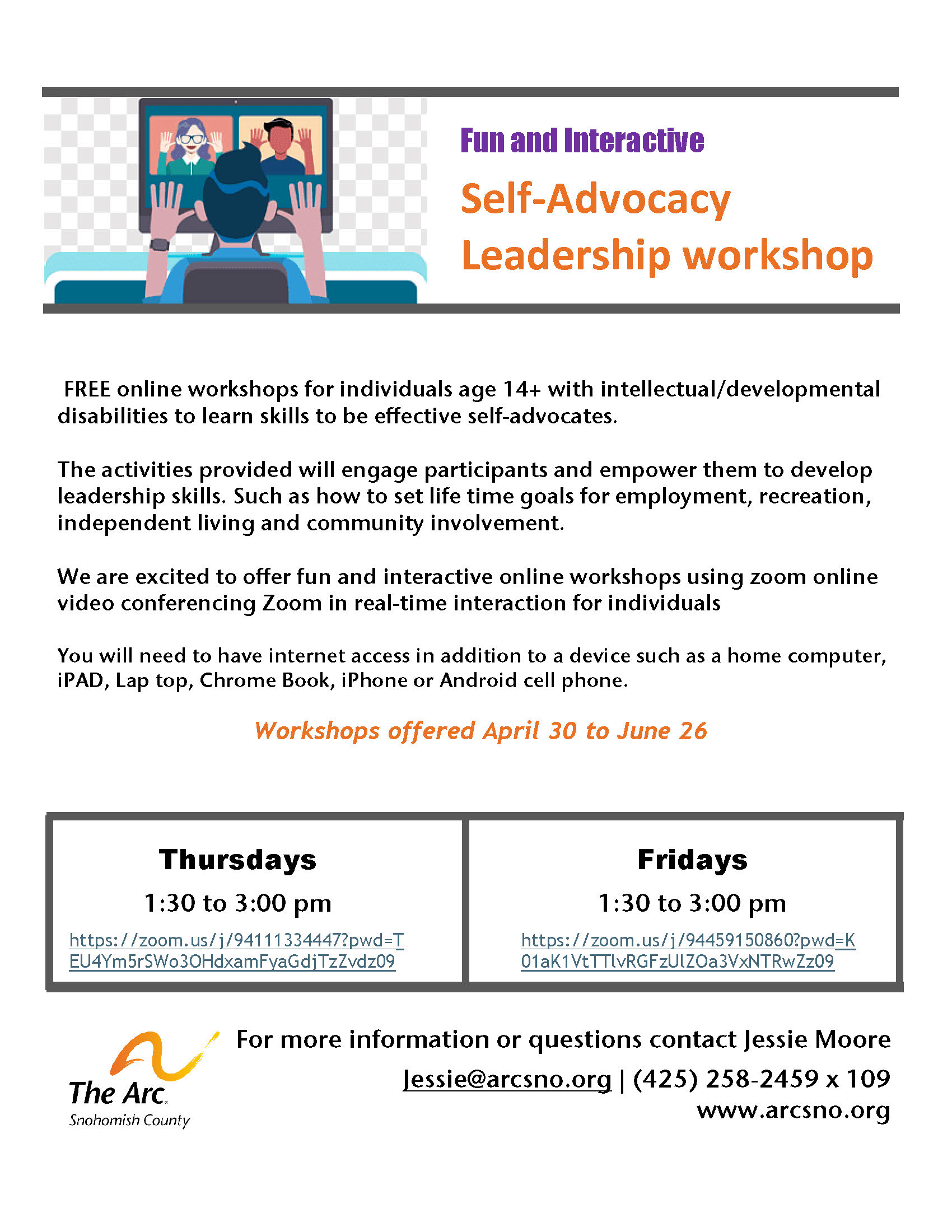 Self Advocacy online workshops Apr 30 to June 26