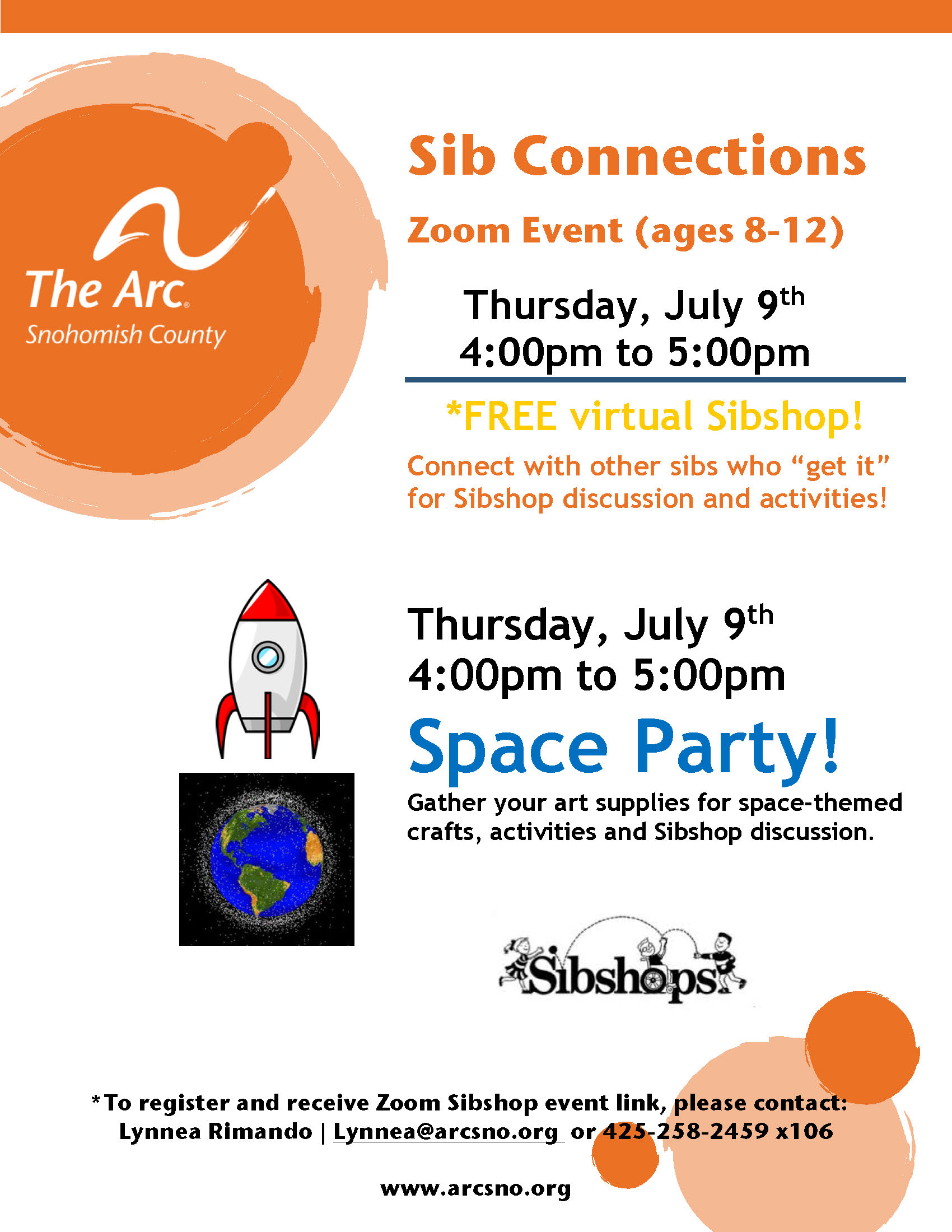 Sib Connections Zoom Space Party July2020